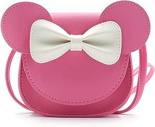 QiMing Little Mouse Ear Bow Crossbody Purse,PU-Schultertasche für Kinder Mädchen Kleinkinder