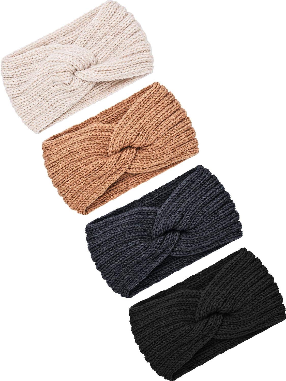 4 Pieces Winter Ear Warmers Headbands Women Warm Knitted Headband Braided Crochet Head Wraps for Girls (Black, Dark Grey, Camel, Beige)