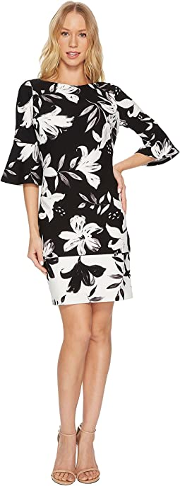 Vince Camuto - Printed Scuba Crepe Flared Sleeve Bodycon