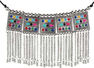 Oxidised Gypsy Square Multicolor Tassels Choker Necklace for Girls and Women 1751