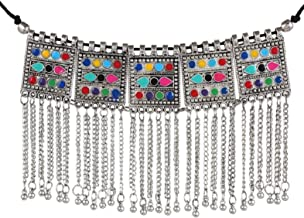 Sansar India Oxidised Gypsy Square Multicolor Tassels Choker Necklace for Girls and Women 1751