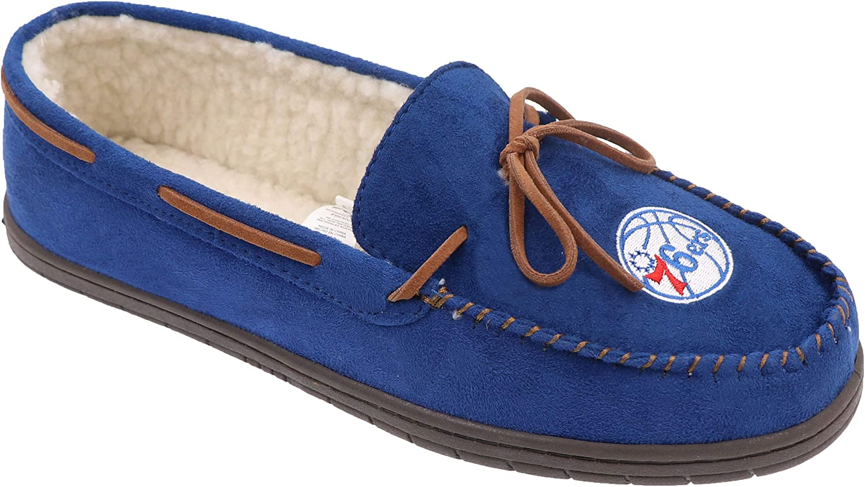 FOCO NBA Mens Team Color Big Logo Moccasin Slippers
