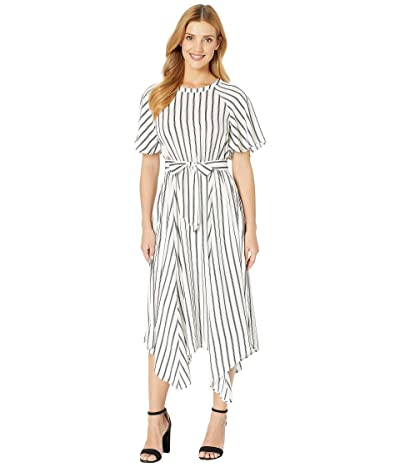 American Rose Sam Waist Tie Striped Midi Dress (White) Women