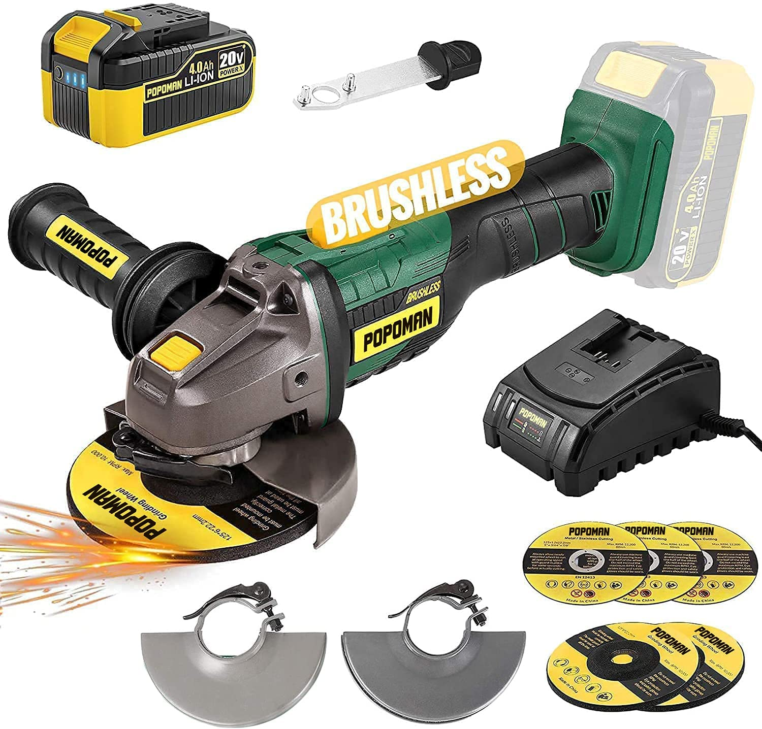 Brushless Cordless Angle Grinder 20V Max, Popoman 5 Inch 10000Rpm Cordless Grinder With 4.0Ah Lithium-Ion Battery &Amp; Fast Charger, 3-Position Auxiliary Handle, Cutting Wheel&Amp;Grinding Wheel Included