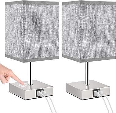 Lovebay Lot de 2 lampes de chevet tactiles, à intensité variable, blanc chaud, moderne avec 2 ports USB, lampe de chevet rétr