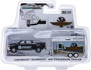 Chevrolet Silverado Pickup Truck & Concession Trailer Indianapolis Motor Speedway Hitch & Tow 1/64 Diecast Model Car by GreenLight 30034