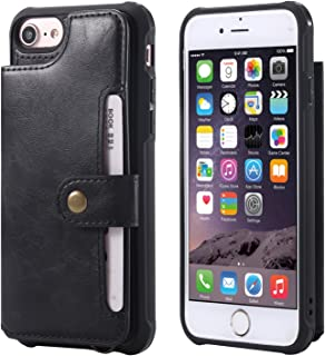 Wallet Case for iPhone 6 6s 7 8 Apple,PU Leather Card Cash Slot Hand Strap Magnetic Snap Protective Cover Durable Shell Kickstand Soft Black Men Women