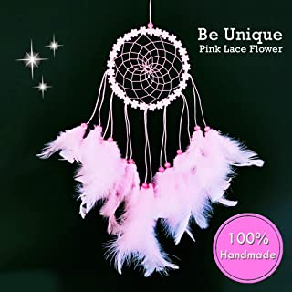 Dream Catchers for Bedroom Decor – Pink dream catcher Handmade Home Wall Hanging Decoration Ornament Craft Gifts for Parents in Brown Blue Purple White Multi Color Design Suit Balcony & Car Charm