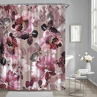 Burgundy Shower Curtain Red Rose Floral Vintage Maroon Flowers Watercolor Fabric Shower Curtains for Bathroom Waterproof, ...