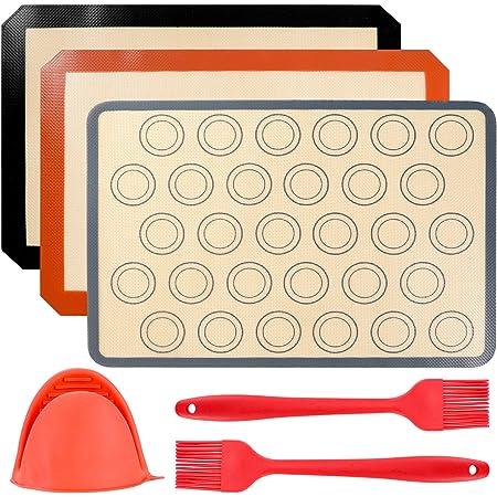 ZITFRI 3 Pcs Tapis de Cuisson en Silicone 40 x 30cm Feuille de Cuisson Anti-Adhérent Ustensiles de Cuisine Patisserie Tapis de Pâte