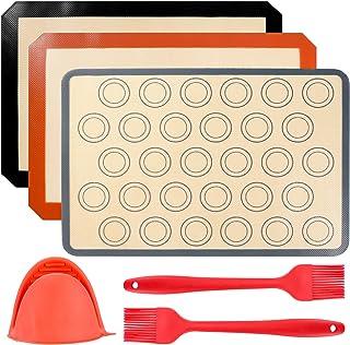 ZITFRI 3 Pcs Tapis de Cuisson en Silicone 40 x 30cm Feuille de Cuisson Anti-Adhérent Ustensiles de Cuisine Patisserie Tapi...