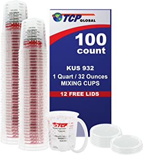 Best (Full Case of 100 each - Quart (32oz) PAINT MIXING CUPS) by Custom Shop - Cups are Calibrated with Multiple Mixing Ratios (1-1) (2-1) (3-1) (4-1) (8-1) BOX of 100 Cups includes 12 bonus Lids Review