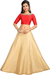 STUDIO Shringaar Womens Polysilk Readymade Skirt Lehenga With Stitched Embroidered Choli Blouse