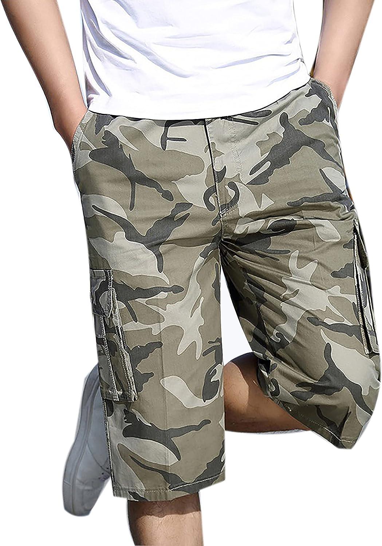 Yeokou Men's Casual Cotton Multi Pockets Elastic Waist Knee Length Cargo Shorts