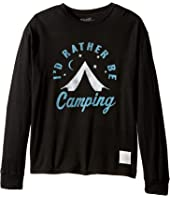 The Original Retro Brand Kids - ID Rather Be Camping Long Sleeve Vintage Cotton Tee (Big Kids)
