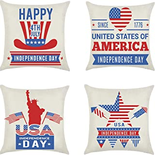 YTYCCT July 4th Pillow Cover, Independence Day Cushion Case, American Pillow Shams, Patriotic Throw Pillowslip Text & Truc...