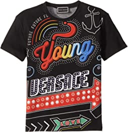 Versace Kids - Short Sleeve Neon Lights Logo Graphic T-Shirt (Toddler/Little Kids)