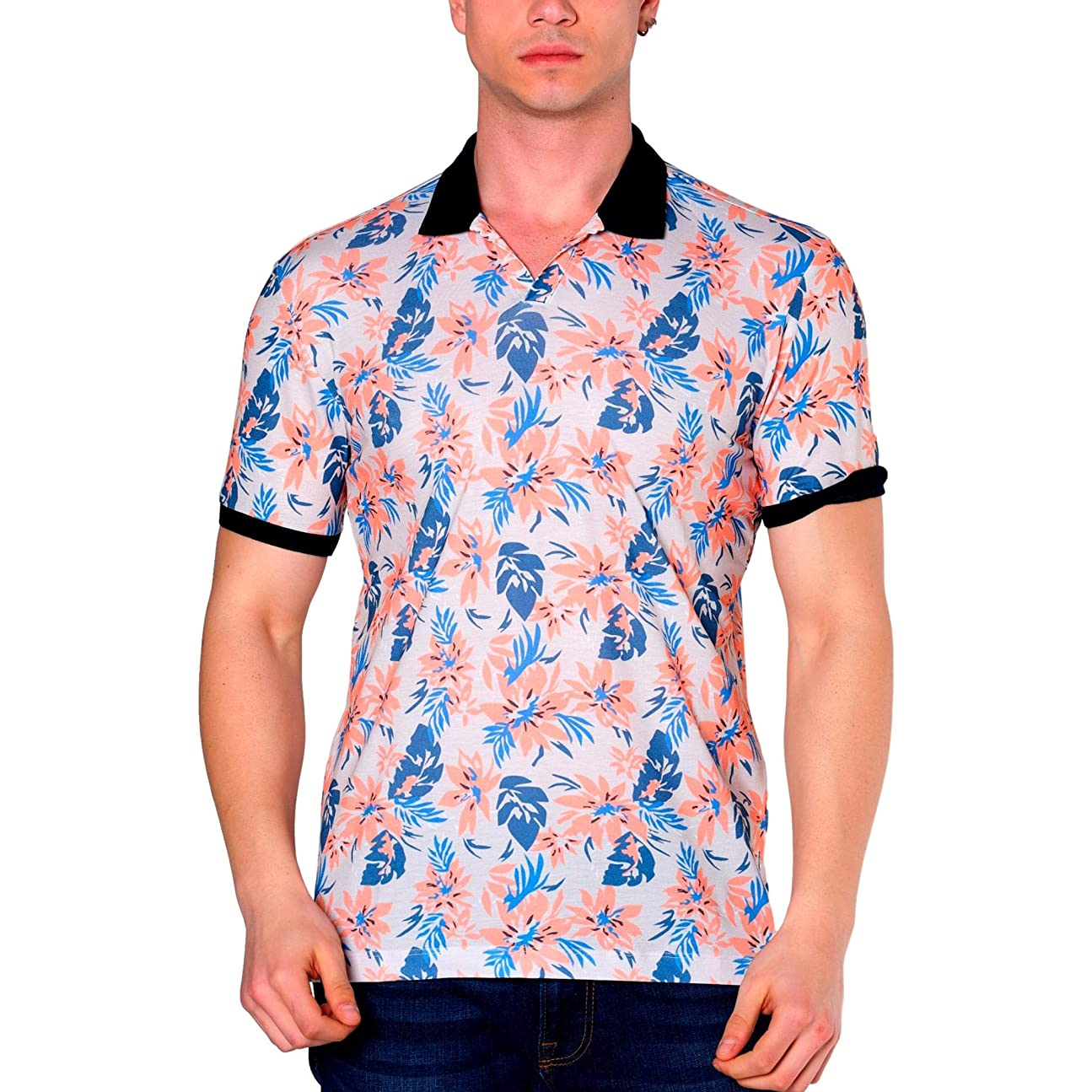 浸漬本物の昼寝Duca Blanca 半袖 花柄ポロ襟Tシャツ