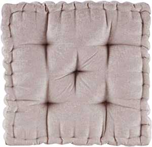 "Intelligent Design Azza Poly Chenille Square Floor Pillow Cushion, 20""x20""x5"", Blush"