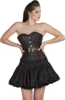 Red Black Brocade Leather Gothic Burlesque Bustier Overbust Corset Waist Trainer