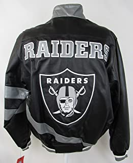 Oakland Raiders Mens Size Small Full Zip Embroidered Leather Jacket ARAD 171