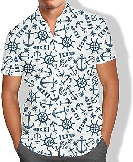 Camisa Praia Masculina Ancora Roda Do Leme Navio Equilíbrio