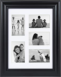 DesignOvation Dalat Matted Collage Picture Frame, 12x16 matted to (5) 4x6, Black