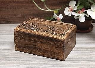 Aheli Wooden Keepsake Box Jewelry Trinket Storage Organizer Handmade Elephant Motif