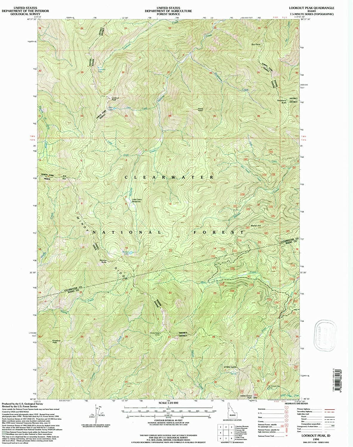 Lookout Peak ID topo map, 1 24000 Scale, 7.5 X 7.5 Minute, Historical, 1994, Updated 1997, 26.9 x 22.1 in