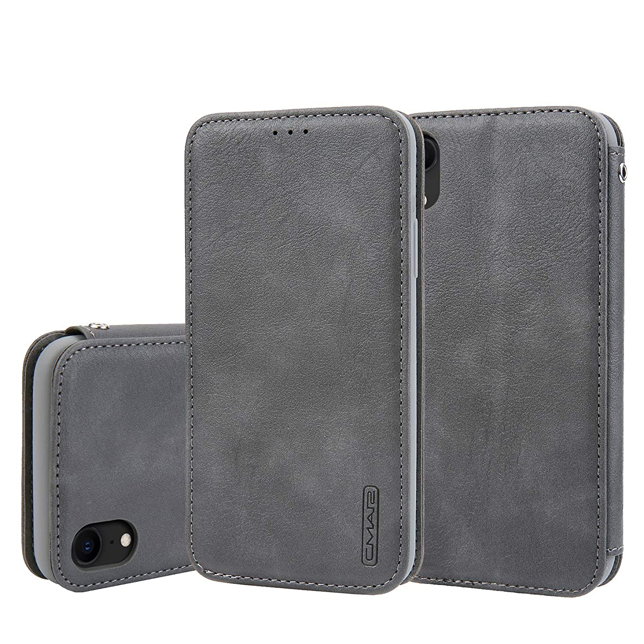 Flip Case Cover Compatible with iPhone XR 6.1inch Gray Leather Business Thin/Slim Holder Card Slot (ID Card,Credit Card) Full Protection,Accurate Cutouts Fashion Gift Girls Boys Unisex
