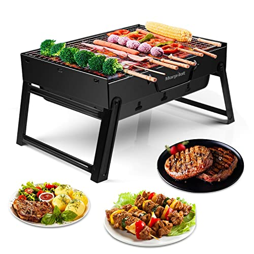 morpilot Barbecue Racks Portable Barbecue Grill Stainless Steel BBQ Tools Charcoal Smoker Char Broil BBQ Pit Grill Barbecue Rotisseries for Outdoor Camping