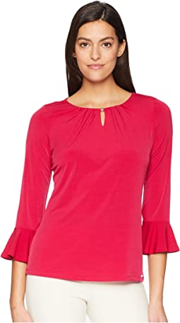 Long Flared Sleeve Bead-Neck Knit Top