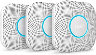 Google, S3006WBUS, Nest Protect Smoke + Carbon Monoxide Alarm, 2nd Gen, Battery, 3 Pack