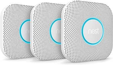 Google, S3006WBUS, Nest Protect Smoke + Carbon Monoxide Alarm, 2nd Gen, Battery, 3 Pack