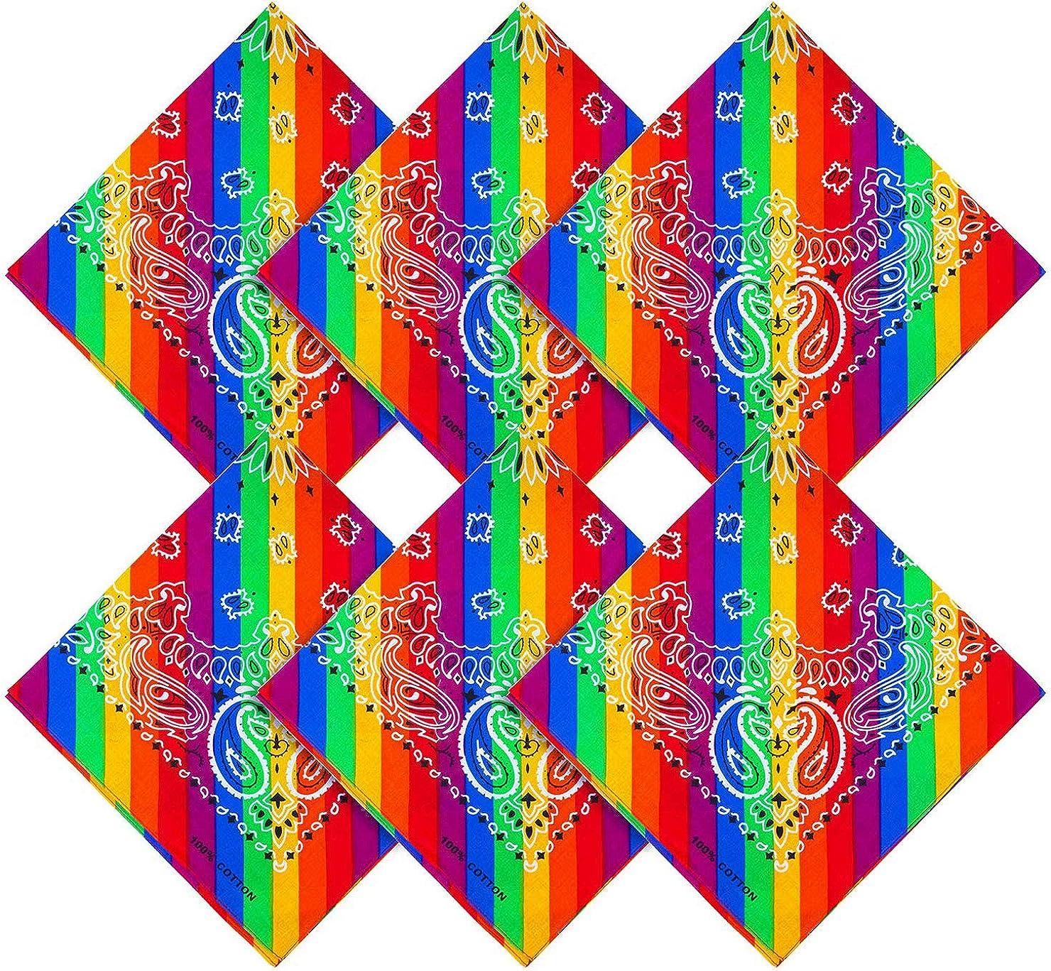 Bright rainbow headscarf unisex multi-colored cowboy headscarf daily wear or holiday