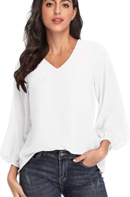 Women's Casual Sweet & Cute Printed Loose Shirt Balloon Sleeve Chiffon V-Neck Blouse Tops