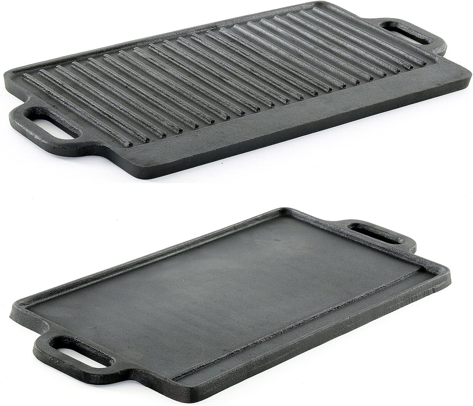 ProSource Professional Heavy Duty Reversible Double Burner Cast Iron Grill Griddle, 20 by 9-Inch, Black