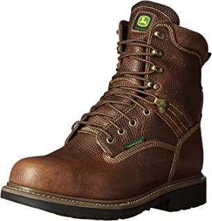 John Deere Men's 8 Brn Waterproof Steel Toe EH Farm/Wrk LU Work Boot