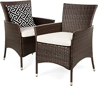 Best Choice Products Set of 2 Modern Contemporary Wicker Patio Furniture Dining Chairs w/Water-Resistant Cushions