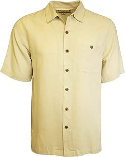 Beyond Paradise Mens 100% Silk Solid Shirt Linen Large