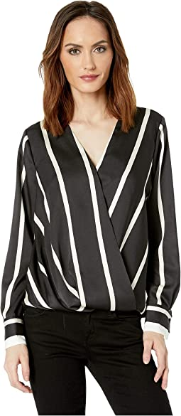 Long Sleeve Dramatic Stripe Front Wrap Blouse