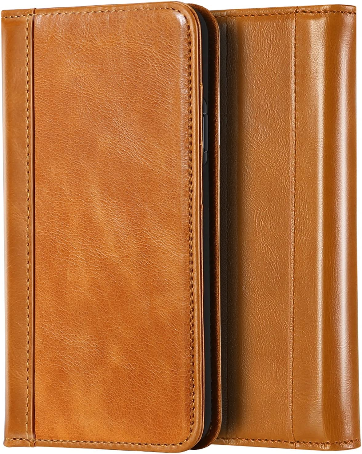 iPhone Xs/iPhone X Genuine Leather Case, ProCase Wallet Case Flip Cover with Kickstand Card Slots Magnetic Closure with Auto Sleep/Wake Function for Apple iPhone Xs (2018) / iPhone X (2017) -Brown
