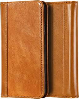 ProCase Genuine Leather Case for iPhone XR, Vintage Wallet Folding Flip Case with Kickstand Card Holder Protective Cover for Apple iPhone XR 6.1