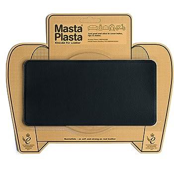 MastaPlasta - Parches AUTOADHESIVOS para reparación de Cuero y Otros Tejidos. Negro. Elije el tamaño y el diseño. Primeros Auxilios para sofás, Asientos de Coche, Bolsos, Chaquetas