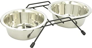 Dogit Stainless Steel Raised Dog Bowls with Plastic Cover for Both Dogs and Cats