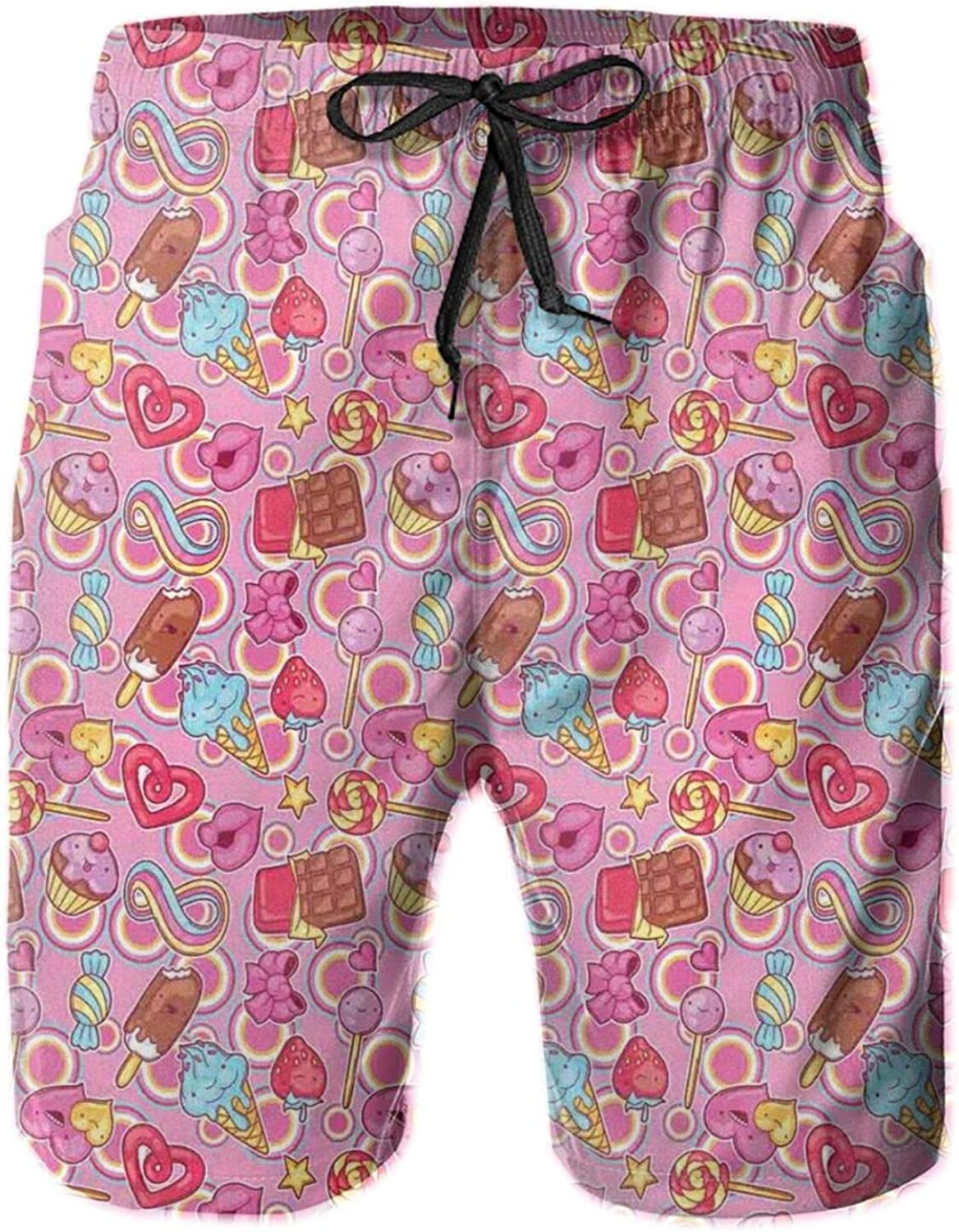 MUJAQ Sweets Pattern with Cartoon Style Candies and Chocolate Cartoon Style Colorful Design Mens Swim Trucks Shorts with Mesh Lining,L