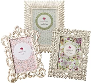 Fashioncraft Vintage Antique Picture Frames Table Top, Set of 3 Picture Frame for 4x6 Inches Photos, Baroque Ornate Style with Brushed Gold or Silver Accents, Perfect for Wedding Graduation Home Decor