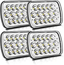 4PCS Rectangle H6054 LED Headlights 5x7 7x6 Headlamp Hi/Low Sealed Beam H4 9003 Plug for Jeep Wrangler Grand Cherokee 4x4 Toyota Tacoma pickup Dodge Ram Ford F250 E350 Chevy Corvette van