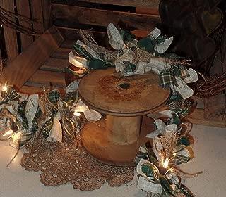 The Olde Sap Bucket Shamrock Primitive~Country~ Homespun~Lighted Rag Garland~Burlap Bows