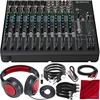 Mackie 1402VLZ4-14-Channel Compact Mixer with Onyx Preamps and Deluxe Bundle w/Closed-Back Headphones + 8x Cables + Fibertique Cloth